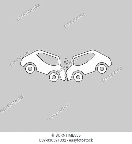 crash Simple line vector button. Thin line illustration icon. White outline symbol on grey background