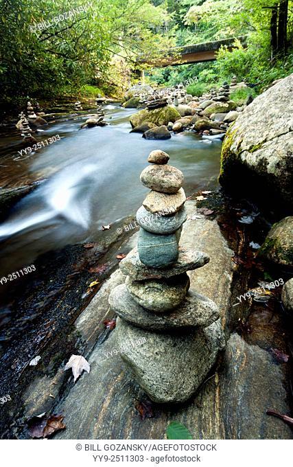 River Rock Cairns - near Daniel's Ridge, Pisgah National Forest - Brevard, North Carolina USA