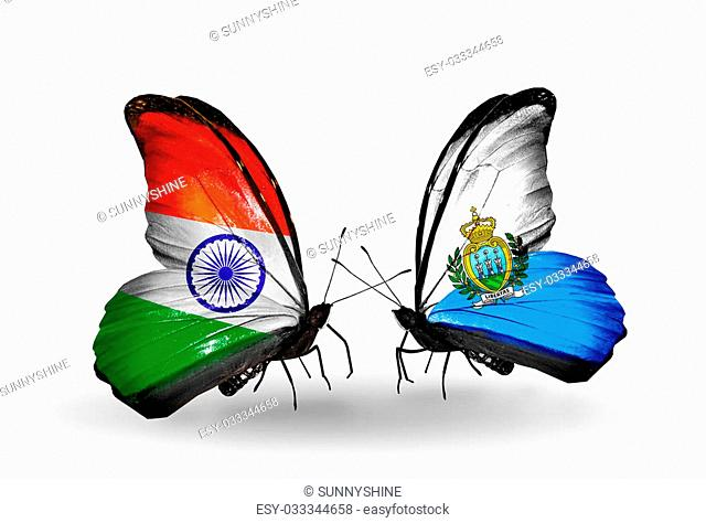 Two butterflies with flags on wings as symbol of relations India and San Marino