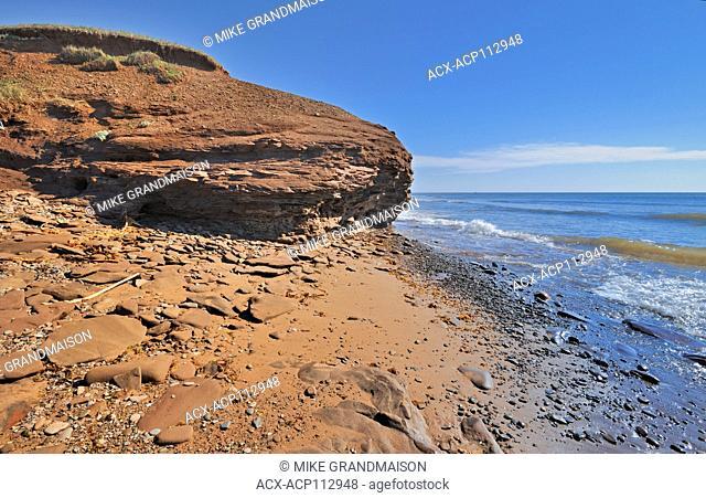 Waves lapping up on a beach, Lamèque Island, New Brunswick, Canada