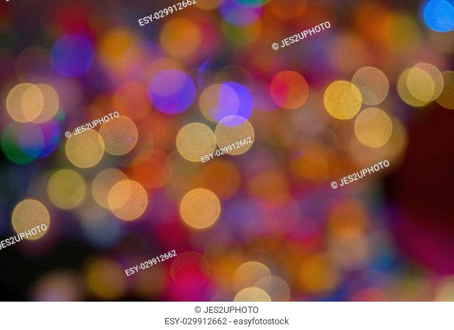 Night Cityscape- Blurred background. Night city light bokeh vintage style