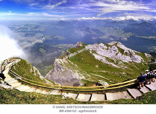 View from Pilatus mountain to Lake Lucerne and Central Swiss Alps, boundary region Nidwalden Obwalden and Lucerne, Switzerland