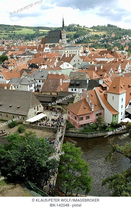 View from the castle over the Vltava river to Cesky Krumlov, South Bohemia, Czech Republic