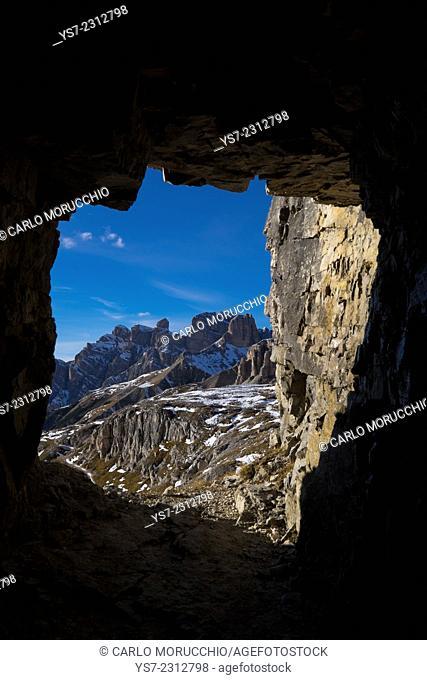 Dolomiti di Sesto from a window on a man cave digged during I world war, Tre Cime di Lavaredo, Sesto, Bolzano, Italy, Europe
