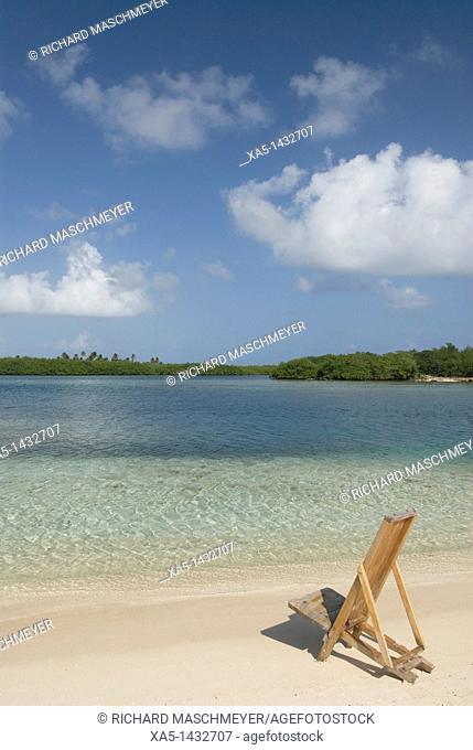 Chair at the beach, Yandup Island, San Blas Islands also called Kuna Yala Islands, Panama