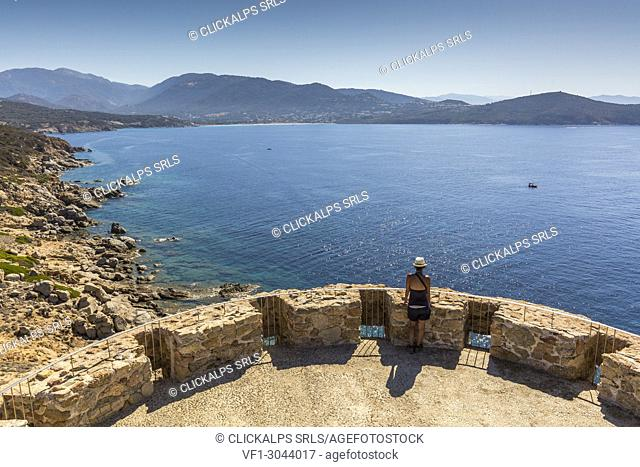 Overview of the clear sea from Tower of Omigna (Tour d'Omigna), Cargese, Corsica, France