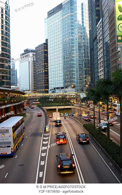 traffic at dusk on Hong Kong's Connaught Road
