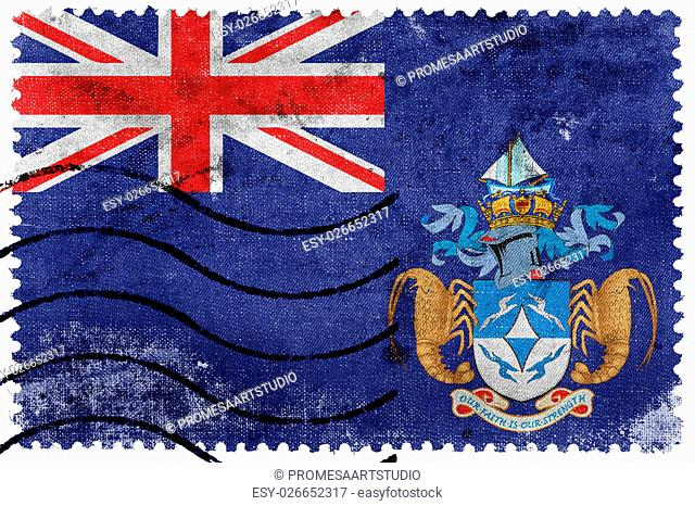 Flag of Tristan da Cunha (part of Saint Helena, Ascension and Tristan da Cunha), old postage stamp