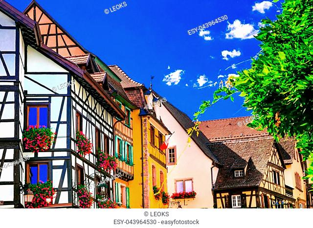 Traditional colorful houses in Alsace,France
