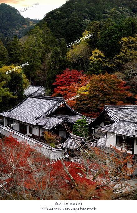 Artistic autumn scenery of Nanzen-ji Buddhist temple complex building rooftops in Sakyo-ku, Kyoto, Japan 2017