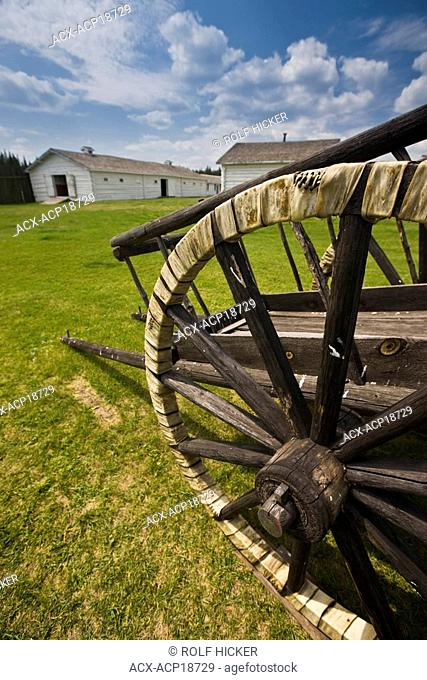 Red River cart with tires made of Shaganappi rawhide at Fort Walsh National Historic Site, Cypress Hills Interprovincial Park, Saskatchewan, Canada