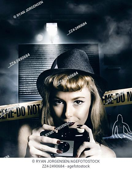Film noir thriller concept of a female detective with vintage camera taking snaps at dark warehouse with dead body chalked outlines