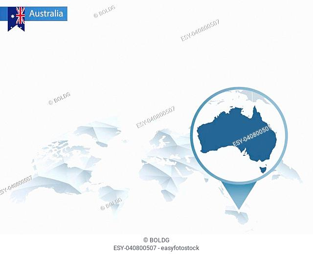 Abstract rounded World Map with pinned detailed Australia map. Vector Illustration