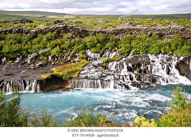 View of the Barnafossar, on the Hvita River, Iceland