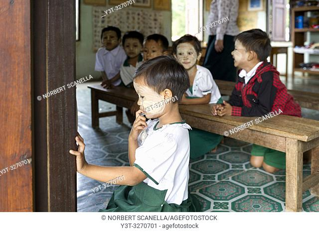 Myanmar (ex Birmanie). Bagan, Mandalay region. Elementary school