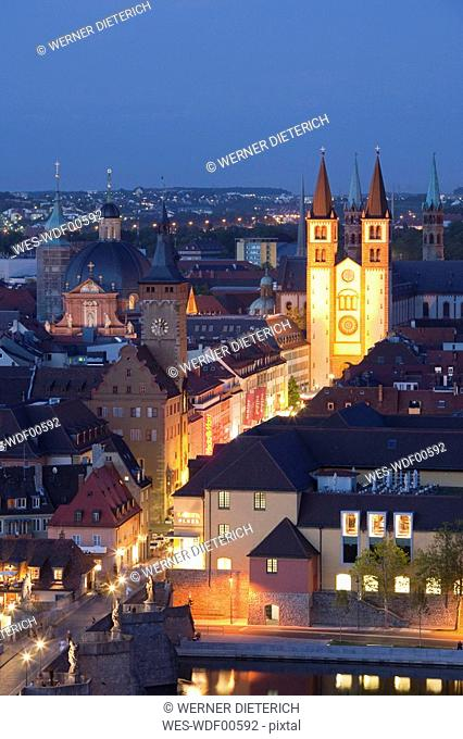 Germany, Bavaria, Franconia, W¸rzburg at night, city view, elevated view