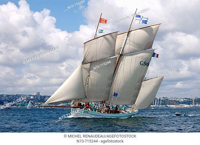 International meeting of old sailing ships (Vieux Gréements, 2004), Brest. Finistère, Bretagne, France