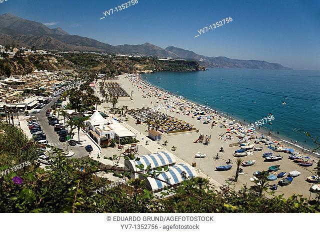View of Burriana beach in Nerja, Andalucía, España