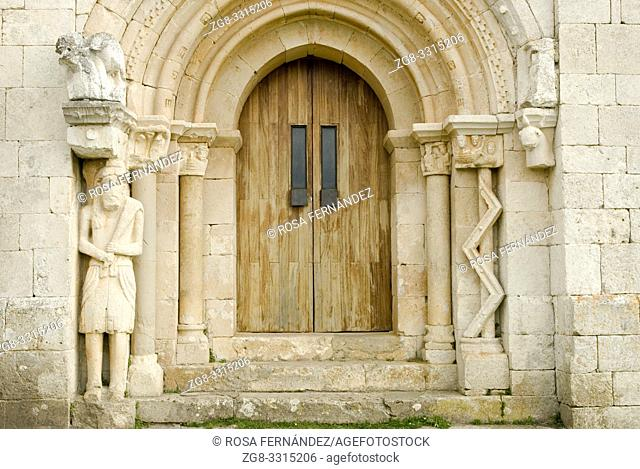 Northern door showing an unusual decoration , San Pantaleon de Losa Hermitage, in Romanesque style with gothic elements, XI Century, Valley of Losa