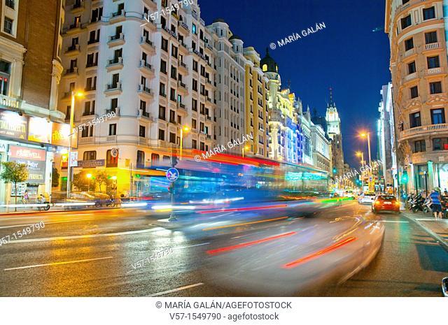 Gran Vía street, night view. Madrid, Spain