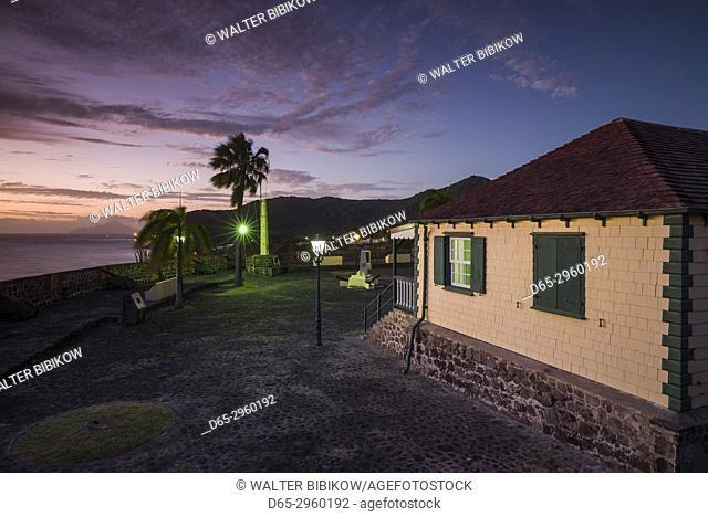 Netherlands, Sint Eustatius, Oranjestad, Fort Oranje, interior, dusk