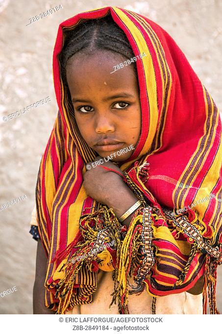 Portrait of a Borana tribe girl, Oromia, Yabelo, Ethiopia