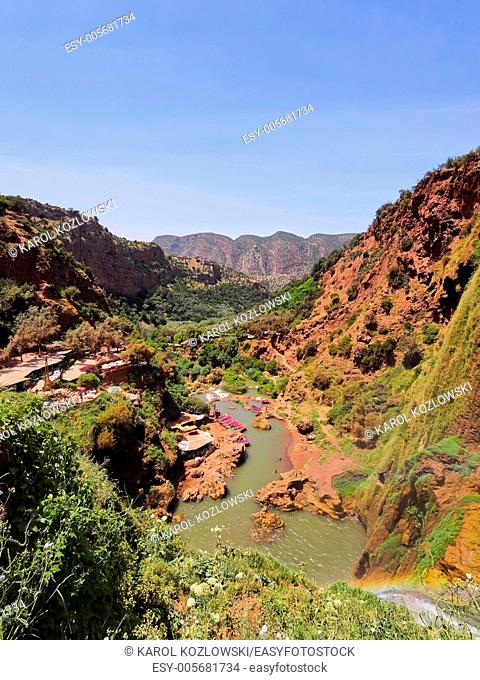 Ouzoud River located in the Grand Atlas province of Azilal, 150 km northeast of Marrakech, Morocco, Africa