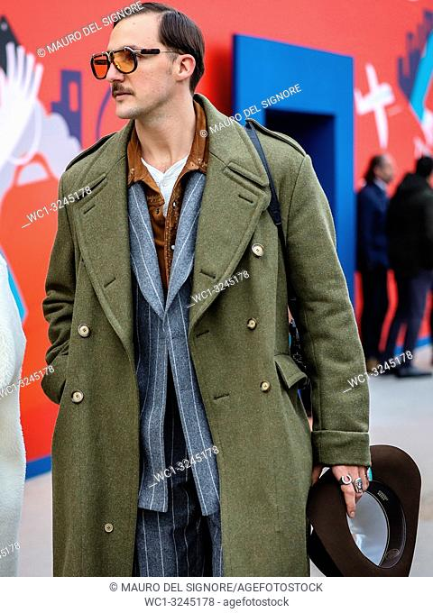FLORENCE, Italy- January 8 2019: Alladin Philipe Faily on the street during the Pitti 95
