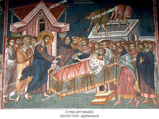 The Healing the paralytic at Capernaum, ca 1350. Artist: Anonymous