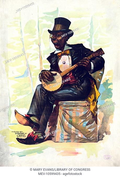 Negro caricature - banjo player. Date c1890 Nov. 7