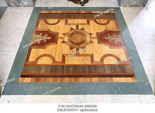 Inlaid wood floor, south anteroom, Royal Hall, Royal Pavilion, Milano Centrale railway station, Milan, Lombardy, Italy
