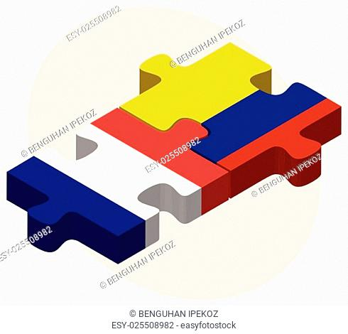France and Colombia Flags in puzzle isolated on white background