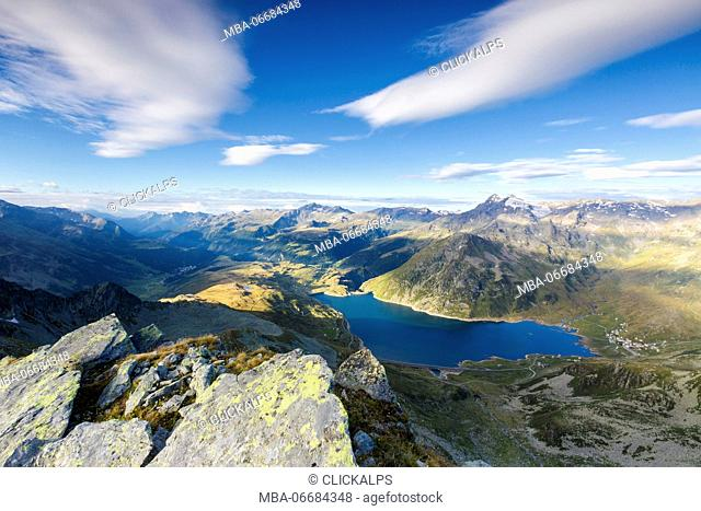 Blue sky on Lake Montespluga and Madesimo with Piz Ferrè on the background Chiavenna Valley Valtellina Lombardy Italy Europe