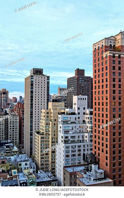 New York City, Manhattan, Upper East Side. Looking at Apartment Buildings and Townhouses Just Before Sunset