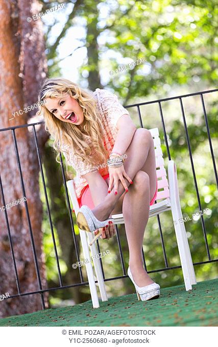 Surprised woman in high-heels