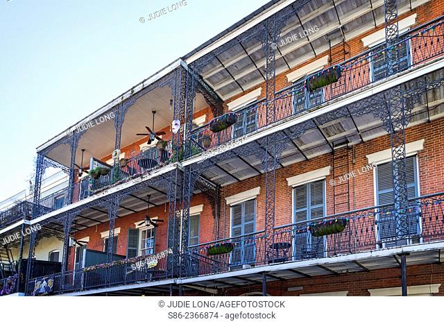 Typical Balcony Decorated for the Mardi Gras, on a French Quarter Apartment Building, New Orleans, LA
