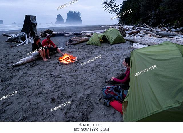 Campers on Second Beach, Olympic National Park, Washington, USA