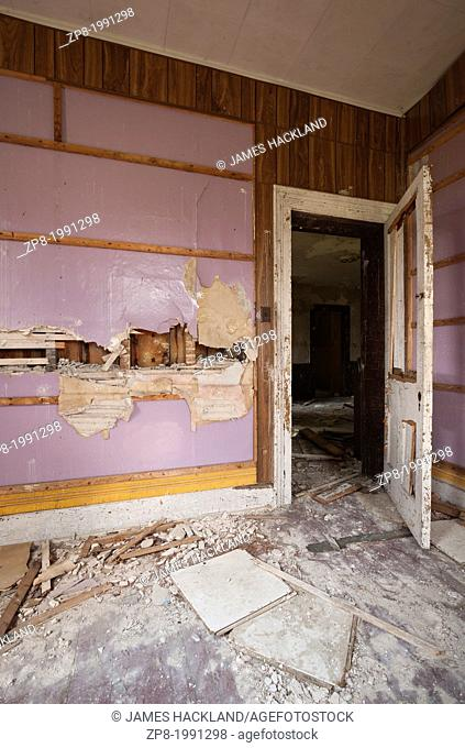 Vandalized room in an abandoned house in Ontario, Canada