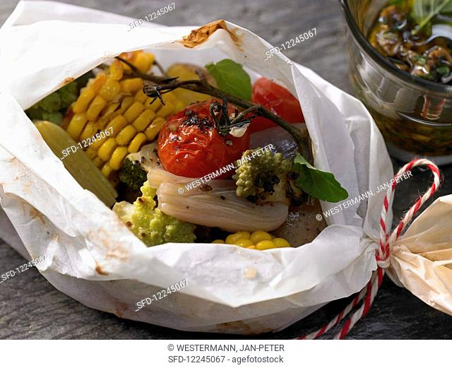Autumnal vegetables cooked in parchment