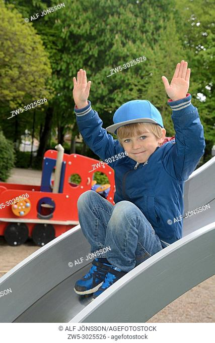 Boy, 5 years old, in a playground in Ystad, Scania, Sweden