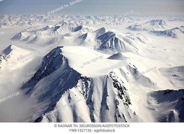 Mountains Around Chukotka Aerial of snow covered mountains between Egvekinot and Anadyr, Sibera, Russsia