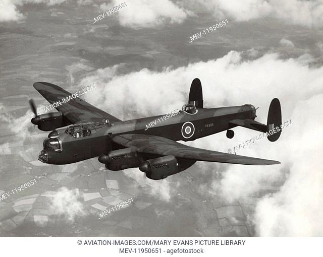 Royal Air Force RAF Avro 683 Lancaster B-1 'Special' Flying with a 22,000 Lb Grandslam Bomb Underneath During a Test-Flight