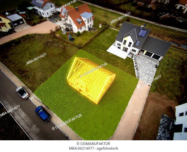 Germany, Bavaria, CGI, 3D, homestead, Building, drone, [M]