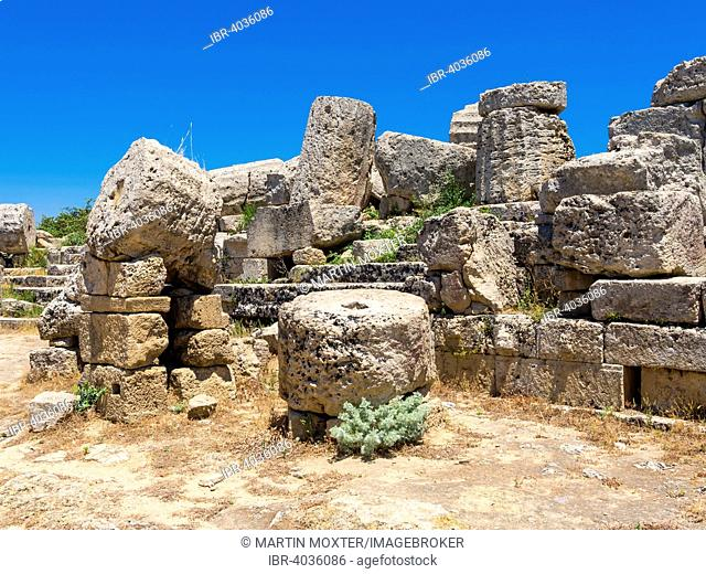 Ruins of the Temple of Hera, Temple C and G of Zeus' wife Hera or Juno, Selinunte, Marinella, Sicily, Italy