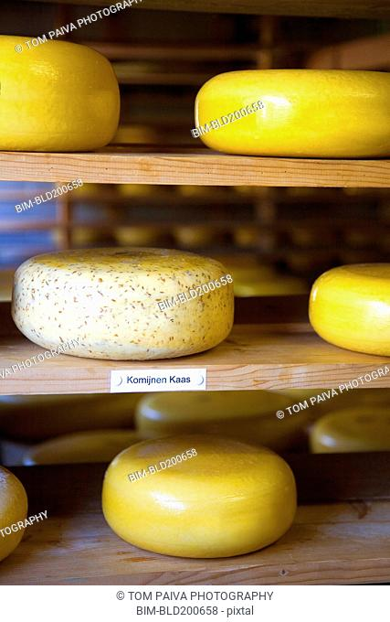 Close up of cheese on shelf