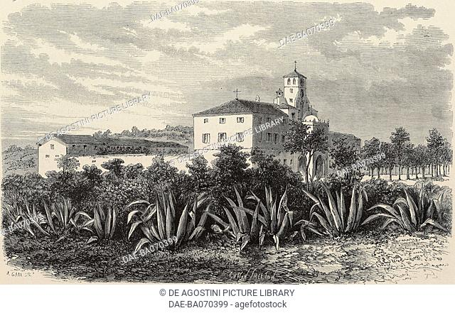 Orphanage in Ben Aknoun, Algeria, from a photograph by Bertrand, engraving by Cosson Smeeton from L'Illustration, Journal Universel, No 1320, June 13, 1868