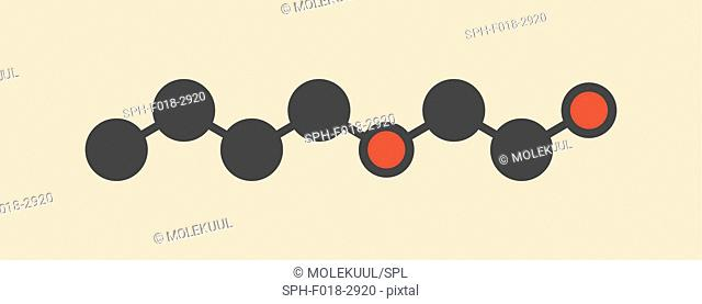 2-butoxyethanol molecule. Used as solvent and surfactant. Stylized skeletal formula (chemical structure): Atoms are shown as color-coded circles: hydrogen...