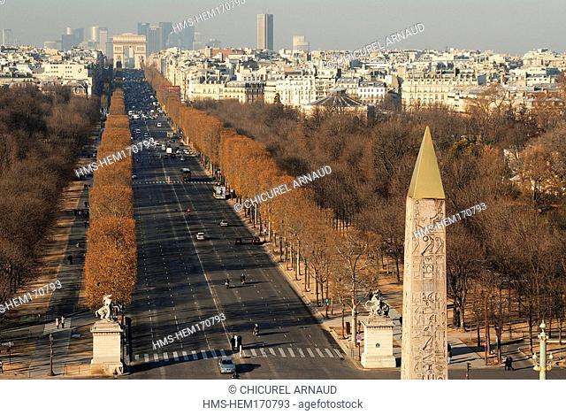 France, Paris, obelisk of Place de la Concorde, Champs Elysees Avenue and the Arc de Triomphe