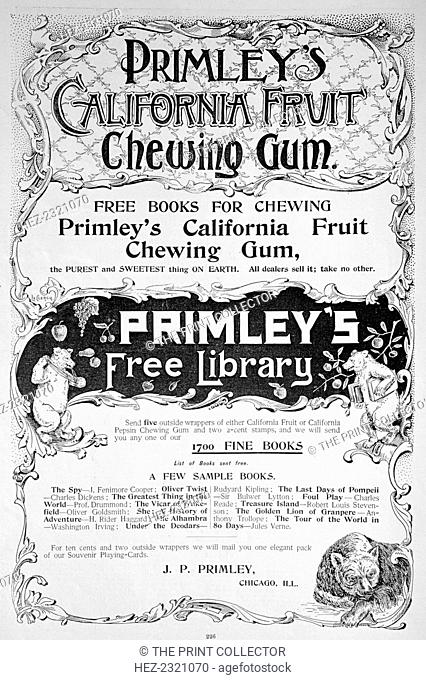 Advert for Primley's California Fruit chewing gum, 1894. A print from the Harper's Bazaar, 1894