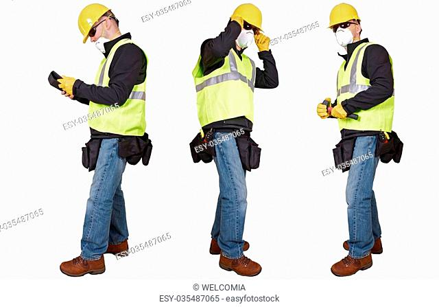Contractors Isolated on White. Three Different Poses. Caucasian Contractor in Yellow Helmet and Black Glasses